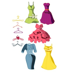 set of bright dresses vector image vector image
