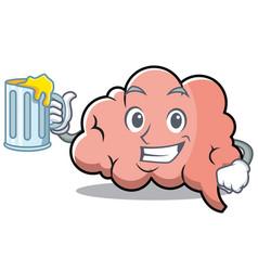with juice brain character cartoon mascot vector image vector image