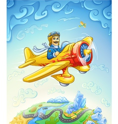 Cartoon plane with pilot flying over the earth vector image vector image