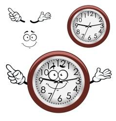 Cartoon wall clock with brown rim vector image vector image