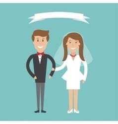 Cute cartoon wedding couple vector image vector image
