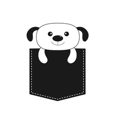 Dog in the pocket Cute cartoon contour character vector image vector image