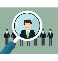 finding professional staff with magnifyin vector image vector image