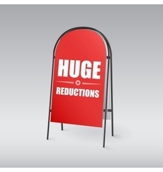 Sandwich board with an inscription Huge reductions vector image vector image