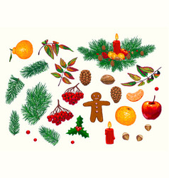 set of hand-drawn christmas decorations vector image vector image