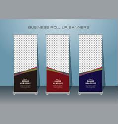 3 set creative roll up banner template design vector