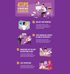4 tips to never miss a deadline infographic vector