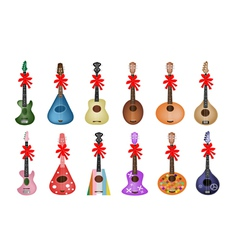 A Set of Beautiful Ukulele Guitars with Red Ribbon vector