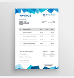 Abstract blue stylish invoice template vector