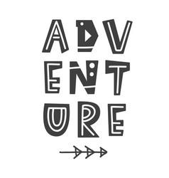 Adventure scandinavian poster with letters vector