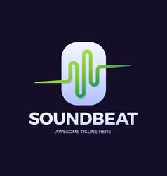 audio sound wave logo template stock design line vector image