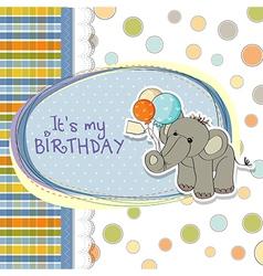 Baby boy birthday card with elephant vector