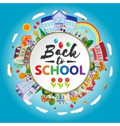 Back to school round banner circle frame vector
