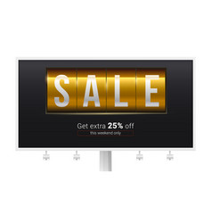 billboard with ads of sale get extra 25 percent vector image