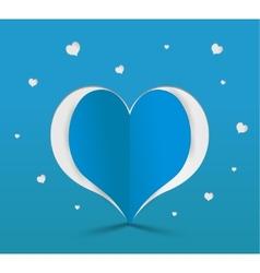 Blue heart paper sticker vector