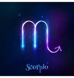 Blue shining cosmic neon zodiac symbol vector image