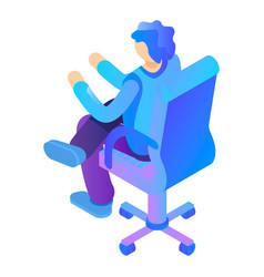 boy at armchair icon isometric style vector image
