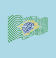 brazil flag on blue background wave stripe vector image