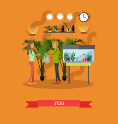 Buying tropical fish in flat vector