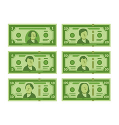 Cartoon banknote dollar cash money banknotes and vector