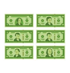 Cartoon banknote dollar cash money banknotes vector