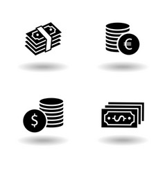 Cash paper money stack and dollar and euro coin vector