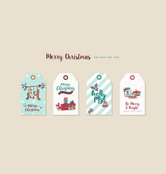 christmas and new year cartoon holiday label set vector image