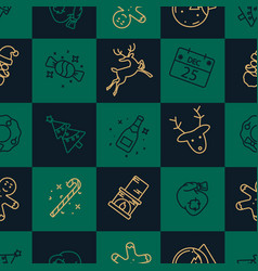 christmas green and gold seamless tile pattern vector image
