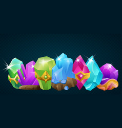 collection cartoon stone crystals and magic vector image