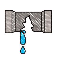 Colored crayon silhouette of water pipe broken vector