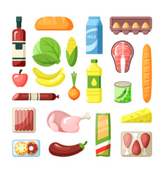 common supermarket grocery products flat vector image