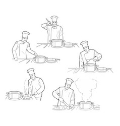 Cooking process with chef figures at the table in vector