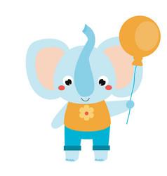cute elephant holing orange balloon cartoon vector image