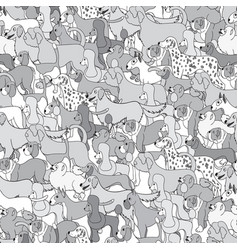 Cute seamless pattern with cartoon different dogs vector
