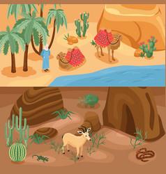 Desert banners set vector