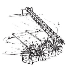 Device for lifting water vintage vector