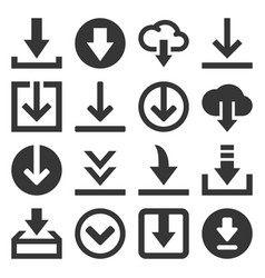 download icon set on white background vector image