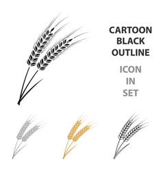 ears of wheat pasta icon in cartoon style isolated vector image