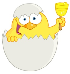 Easter chick in a shell ringing a bell vector