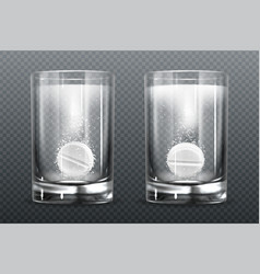 effervescent pill with fizz bubbles in water glass vector image