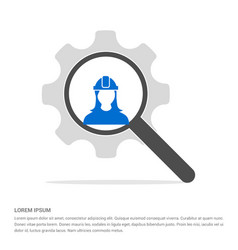 engineer user icon search glass with gear symbol vector image