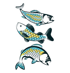 Fish silhouette set for fishing vector