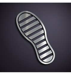 Flat metallic logo footprints vector image