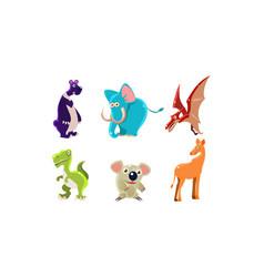 flat set wild animals and jurassic vector image
