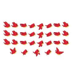 Flying red bird game sprites vector