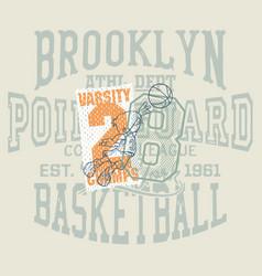 fun cartoon basketball kids team vector image