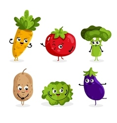 Funny vegetable characters cartoon isolated vector image