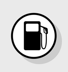 gas pump sign flat black icon in white vector image
