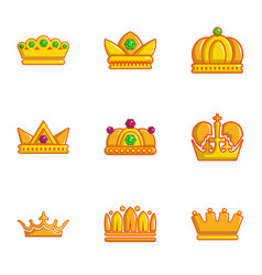 Gold crown icons set flat style vector