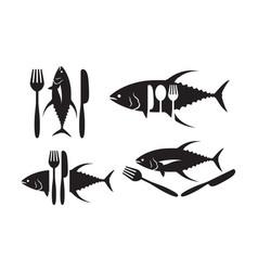 graphic tuna and silverware vector image